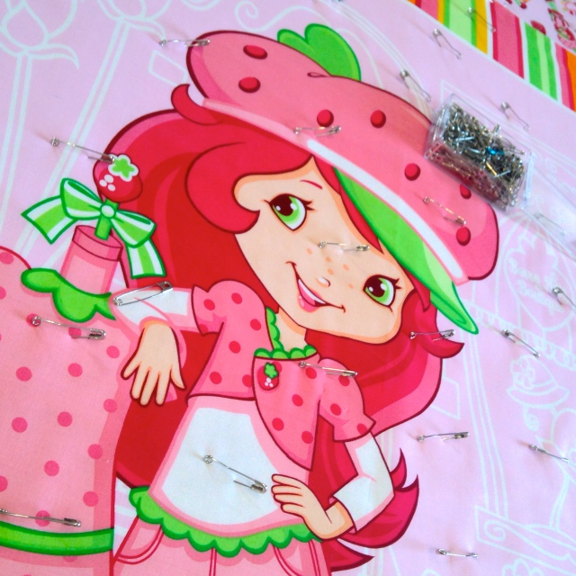 Strawberry Shortcake Panel Quilt Basted