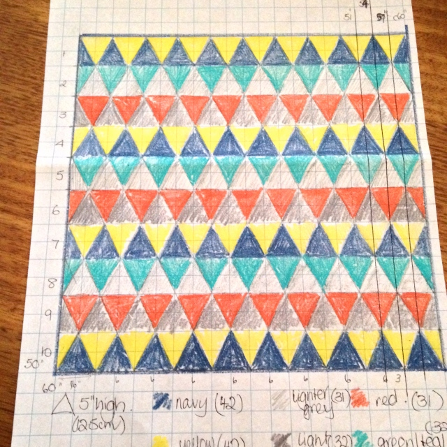 Design process - graph paper and coloured pencils.